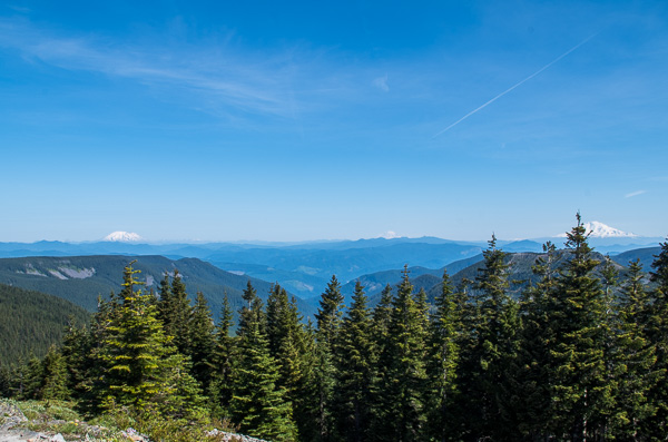 views of Mount St. Helens, Silver Star Mountain, Mount Rainier, Goat Rocks and Mount Adams from Chinidere Mountain